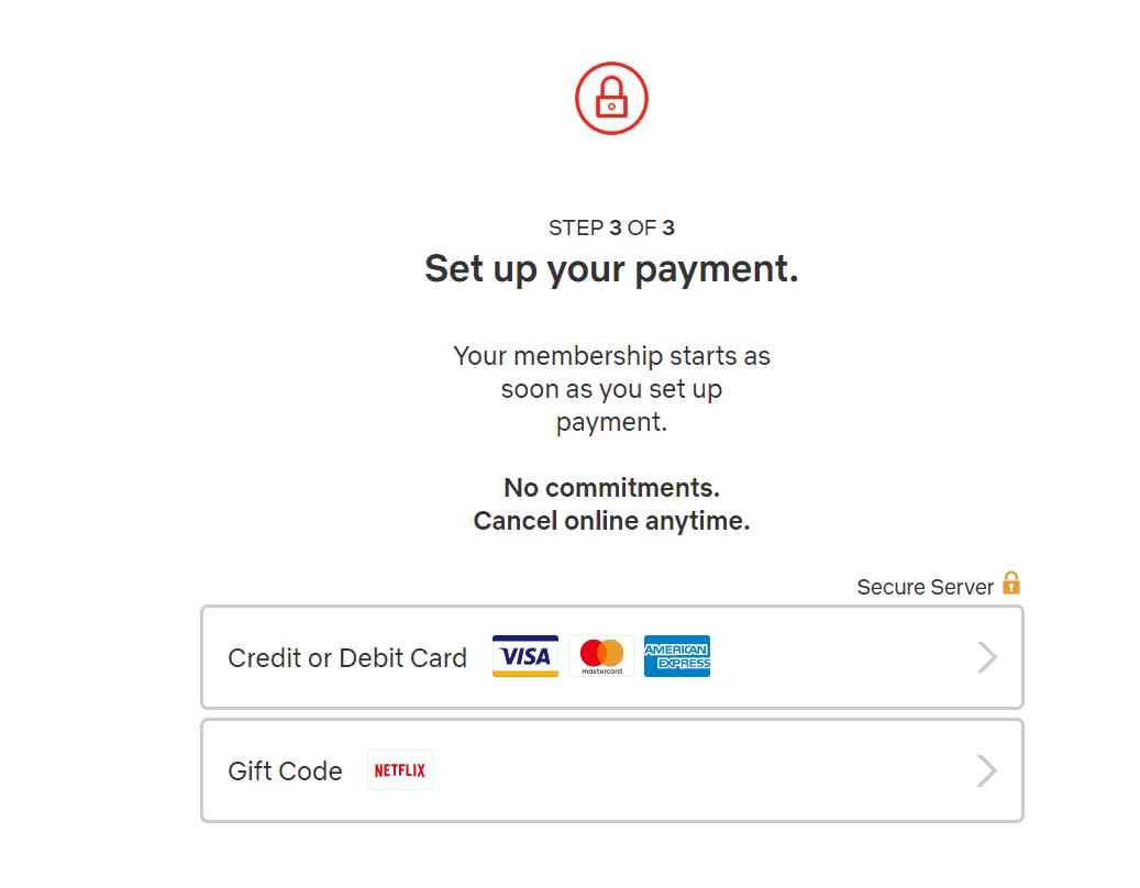 Netflix Canada Payment option