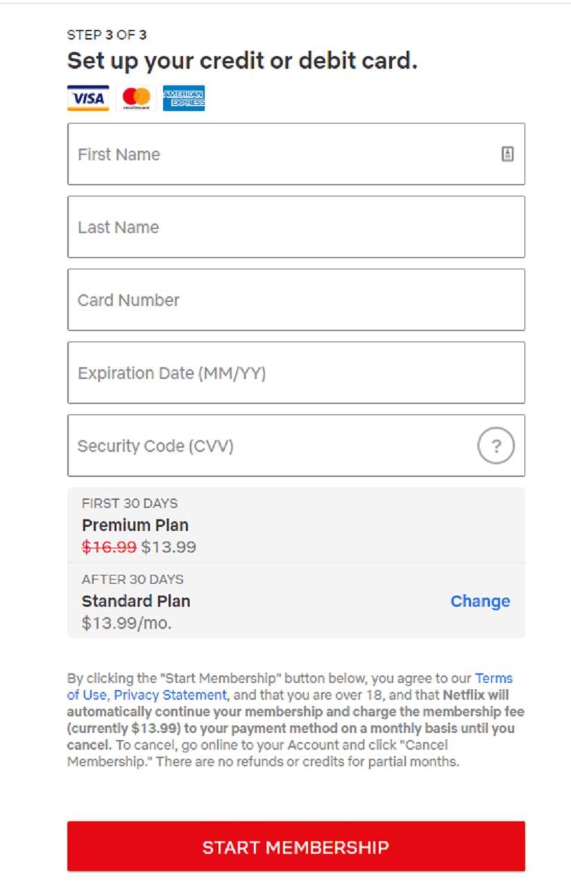 Start Netflix Canada membership