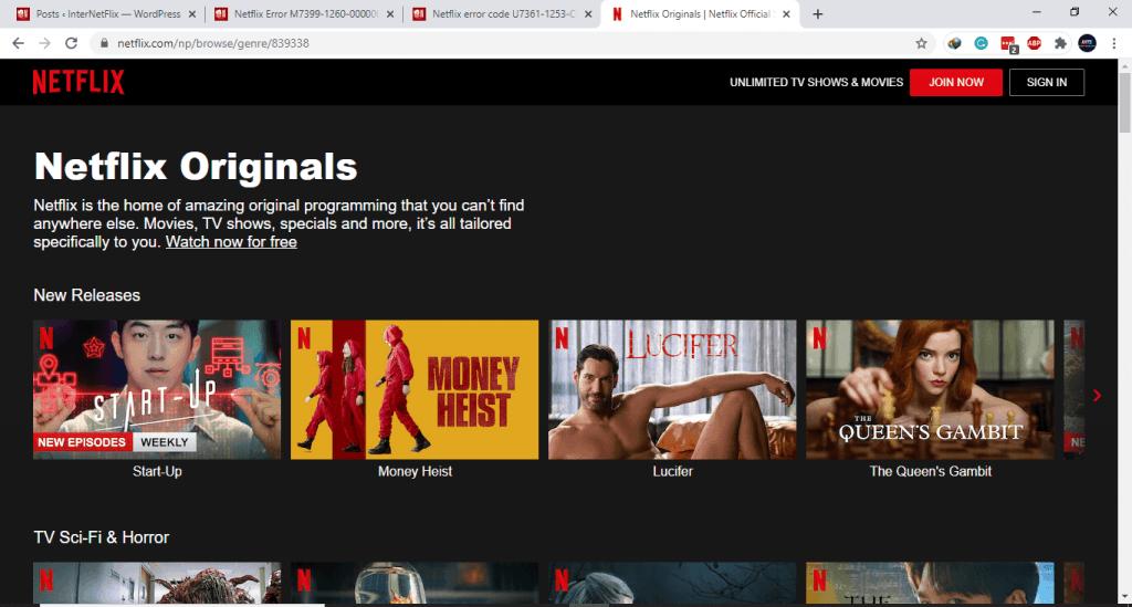 Refresh Netflix page